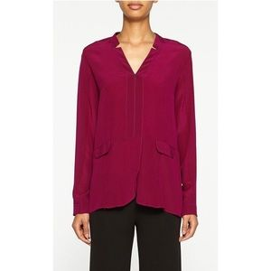 Nicole Miller Notched V Neck Silk Blouse